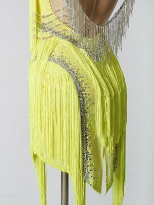 L1939 women Competition samba  Latin/Rhythm Rumba dress UK 12 US 10 yellow