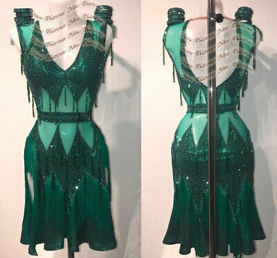 L1935 ballroom Rhythm salsa Latin samba swing dance dress UK12 US 10 green