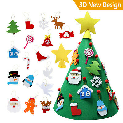 Kids DIY 3D Cone Felt Christmas Tree Xmas Hanging Handcraft Gift for Toddlers