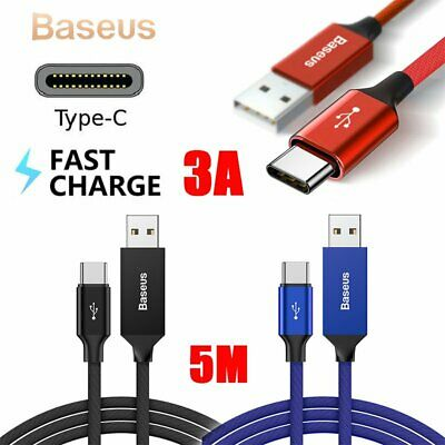 Baseus Braided 5M 3A USB USB-C Type-C Data Sync Fast Charge Cable For Samsung