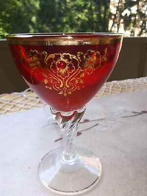 Gorgeous Vintage Red Ruby Bohemian Czech Hand Painted & 22K Gold Enameled Goblet