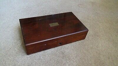 Antique Victorian Rose Wood Box With Lock Good Colour