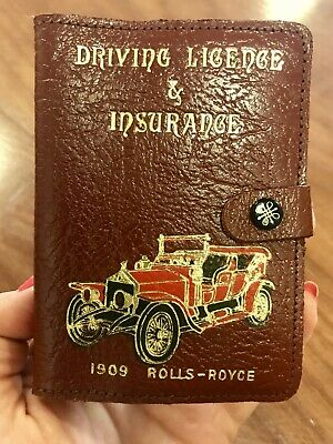 A Vintage Leather  Driving Licence & Insurance Holder 1909 Rolls Royce Motif On
