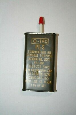 1970 Vintage Military Light Weapons Oil 4O/Z Can Un-Opened