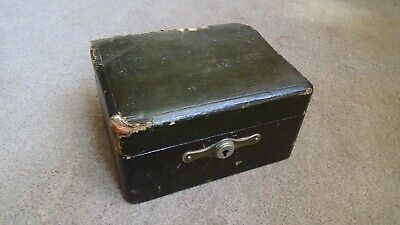 Antique Victorian / Edwardian Green Leather Bound Travel Jewellery Box