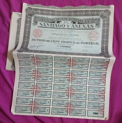 lot 5 ACTIONS compagnie minière Santiago y Anexas French bond stock share 1928