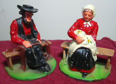 """Vintage 5"""" Pair of Cast Iron Bookends / Door Stops of Amish Man & Woman 4.5 lbs."""