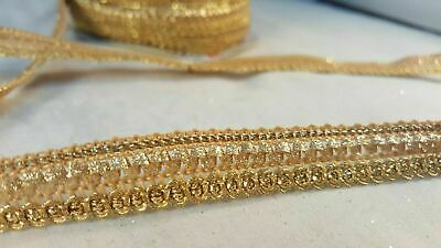 1 metre Gorgeous glittery gold ribbon lace trim for designing crafting 1.3cm