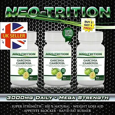 2 x BOTTLES 180 Capsules GARCINIA CAMBOGIA Weight Loss Diet 3000mg Daily HCA 95%