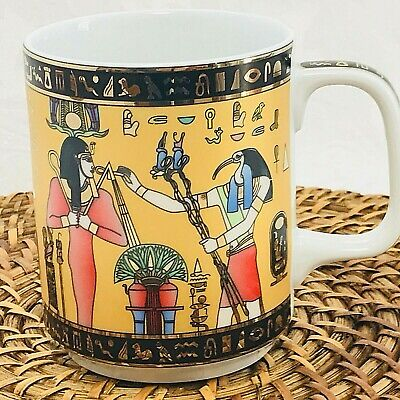 Limoges Coffee Cup Egyptian Gold Hieroglyph Symbol Goddess Magic Bird 3678