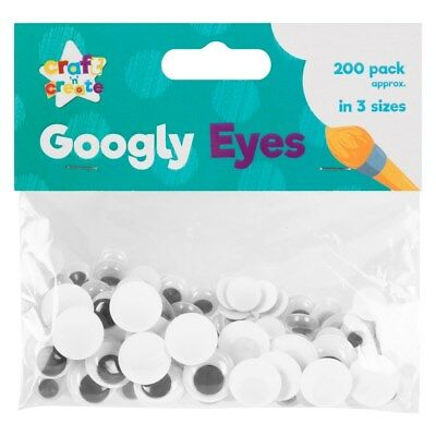 200 Pack GOOGLY EYES Wiggly Wobbly Kids Arts Crafts Adhesive Mixed Sizes Wiggle