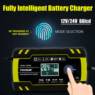 Automatic Battery Charger 12V 24V Smart Fast Charger Starter for Car Motorcycle