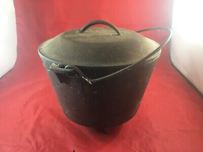 Antique #7 Cast Iron Three Footed Bean Pot Cowboy Kettle with Lid  Lot(820-44)cs