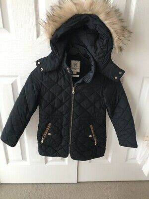 Massimo Dutti girls Quilted Navy Coat With Removable Fur Hood Age 7-8