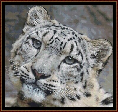 FIERCE CREATURES - SNOW LEOPARD ~ Motif de Point de croix [fichier PDF]