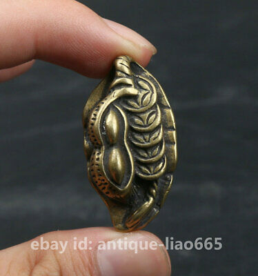 37MM Collection Chinese Bronze Brass Leaf Peanut Money Coin Wealth Lucky Pendant