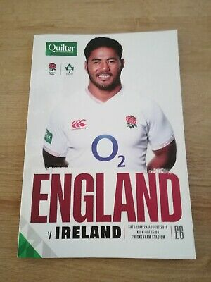 England Vs Ireland Quilter Rugby Official Programme 24/08/19 Twickenham Stadium.
