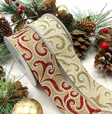 "1 1/2"" Wired Christmas Ribbon  Red Gold Glitter Swirls Xmas Cake Tree Wreath Bow"