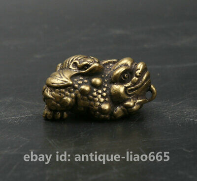 31MM Collect Curio Chinese Bronze Animal Golden Toad Bat Statue Amulet Pendant