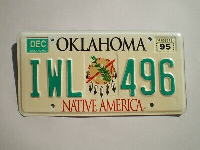 Authentic 1995 Oklahoma License Plate