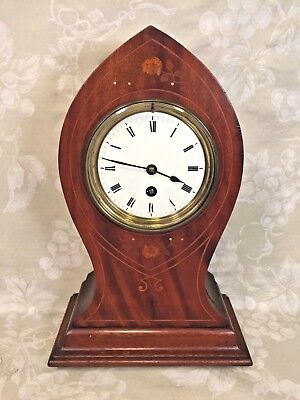 Antique French Clock Kidney or Balloon Style Time Only Inlaid Case Runs?