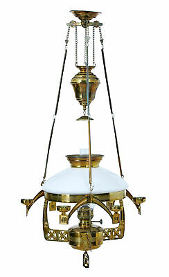 19Th Century Arts And Crafts Brass Hanging Oil Chandelier