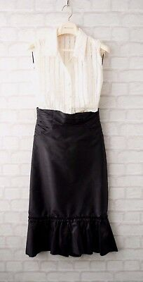 Pronovias Black & Ivory Cocktail Dress Top & Skirt Occasion Outfit Size 8