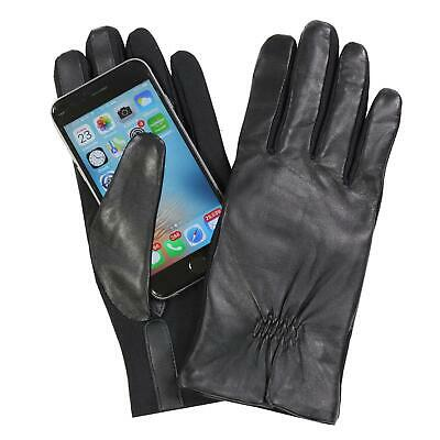 Isotoner Women's V531J2 Leather & Spandex Smartouch Touchscreen Glove Black L/XL