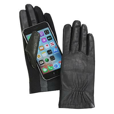 Isotoner Women's A40010 Leather & Spandex Smartouch Touchscreen Glove Black XS/S