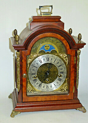 HERMLE 8-day BURR WALNUT WESTMINSTER CHIMING Bracket mantel clock MOONPHASE DIAL