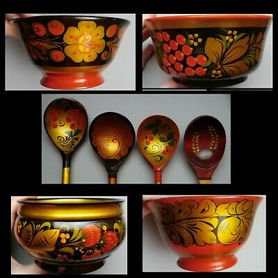 8pc USSR Russian khokhloma VTG 4 Small Bowls 4 Spoons Lacquered Wooden Folk Art