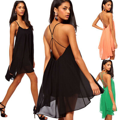 Hot Sexy Womens Sleeveless Backless Spaghetti Straps Chiffon Casual Mini Dress