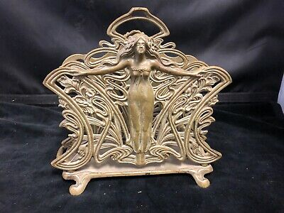 Art Nouveau Painted Bronze/Metal Letter Holder With Maiden Design