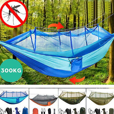 Outdoor Camping Double Mosquito Net Hammock Tent Chair Nylon Hanging Bed Swing