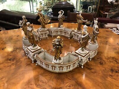 Italian  Art Nouveau 8 Piece Porcelain Centre Piece