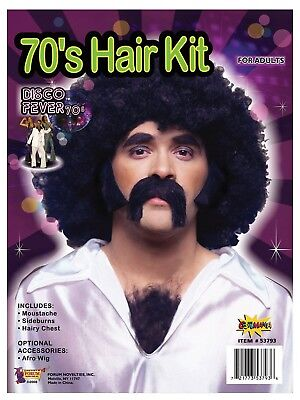 70s Disco Kit - Chest Hair Wig with sideburns and moustache