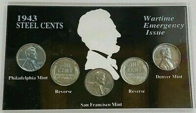 1943 Steel Cents Wartime Emergency Issue Coin Set PPPDS Uncirculated