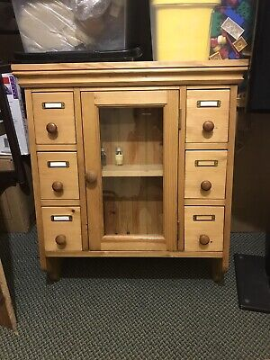 Rustic Antique Style Pine Wall Cupboard with Glazed Doors