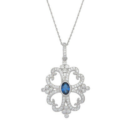 Sterling Silver Blue Oval-cut Cubic Zirconia Vintage-style Pendant Chain Necklac