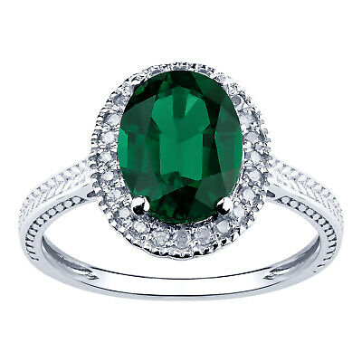 10K White Gold 1.84ct TW Emerald and Diamond Vintage Style Ring - Green