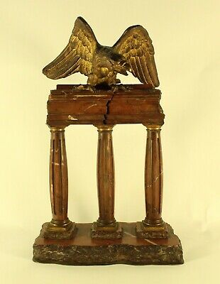 LARGE Vintage Cast Iron Eagle On 3 Wood Pillars With Rocks Brass Plate Marked