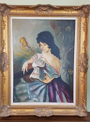 Very Large Old Vintage Oil Painting, Ornate Frame, Signed