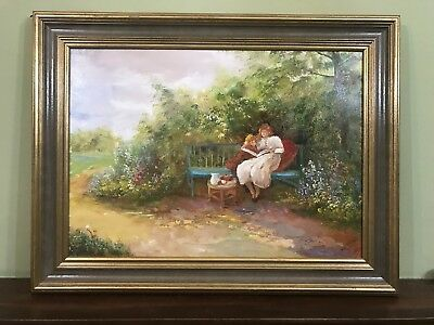 Large Old Vintage Oil Painting