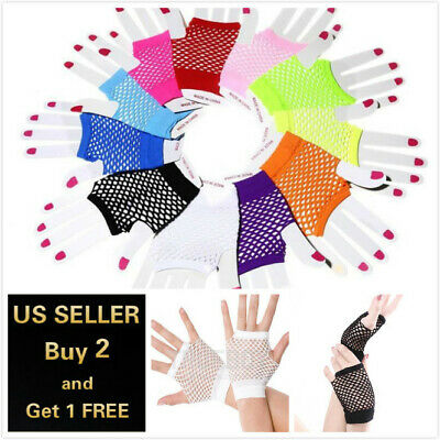 Neon Fingerless Fishnet Wrist Gloves Assorted Colors 80s Costume Props Halloween