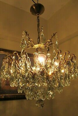 Antique Vintage French SPIDER Style Crystal Chandelier Light Lamp 1940's 17 in.