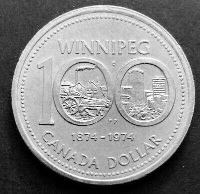 1974 - Canadian One Dollar Winnipeg Nickel Coin Canada 1$