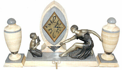 C1920 French Art Deco Marble Mantle Clock Set Spelter Figurines W/Urns