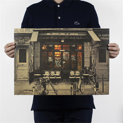 couple paris cafe kraft paper poster customer bedroom background wall sticker@X