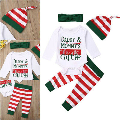 Newborn Infant Baby Boy Girl Christmas Clothes Romper Pants Xmas 4PCS Outfit Set