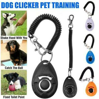 Cute Pet Dog Cat Button Click Clicker Trainer Training Obedience Aid Wrist Strap